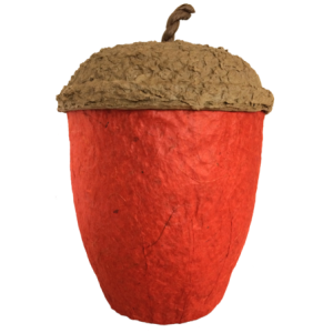Acorn Design Biodegradable Cremation Ashes Urn - RUSTIC RED