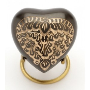 Heart Keepsake (Engraved Black Pewter Heart UU410001C) Token Ashes