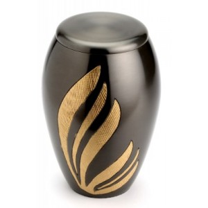 "Large Brass Urn 10"" (Newbury Black UU100011A 290 CI)"