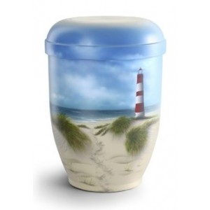 Hand Painted Biodegradable Cremation Ashes Urn -  Sand Dunes & Lighthouse