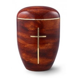 Biodegradable Rosewood Effect (Cross Design) Cremation Ashes Urn