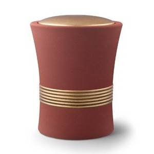 Luxian Ceramic Cremation Ashes Urn – Red with Antique Gold Stripes & Lid