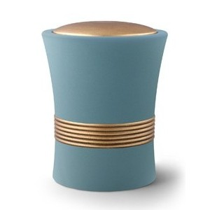 Luxian Ceramic Cremation Ashes Urn – Turquoise with Antique Gold Stripes & Lid