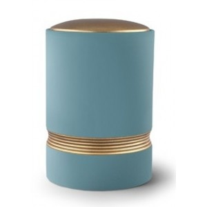 Linea Ceramic Cremation Ashes Urn – Turquoise with Antique Gold Stripes & Lid