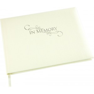 A Lasting Tribute - 'In Memory' Condolence Book - Cream Linen Cover