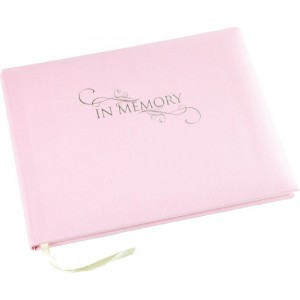 A Lasting Tribute - 'In Memory' Condolence Book - Pink Linen Cover