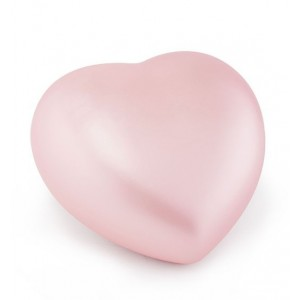 Ceramic Heart Shape Small Cremation Ashes Urn - CHERISHED PINK - Capacity 0.5 Litres