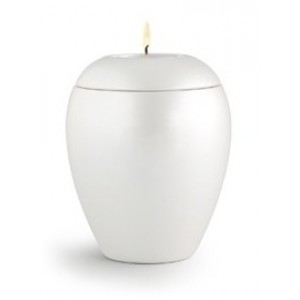 Tealight Holder – Infant / Baby Ceramic Cremation Ashes Urn - CHERISHED WHITE