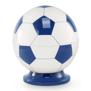 Premier Design Cremation Ashes Urn - BLUE & WHITE FOOTBALL