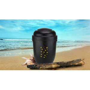 Biodegradable Cremation Ashes Funeral Urn / Casket - DARK WOOD EFFECT with STARS