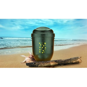 Biodegradable Cremation Ashes Funeral Urn / Casket - DARK WOOD EFFECT with HEAVENLY STARS