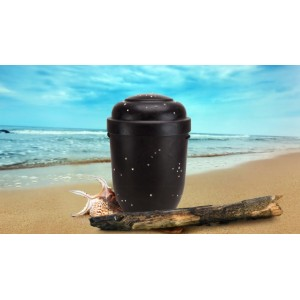 Biodegradable Cremation Ashes Funeral Urn / Casket - NATURAL DARK WOOD with STARS