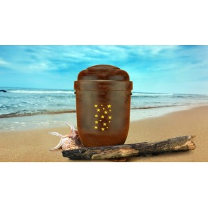 Biodegradable Cremation Ashes Funeral Urn / Casket  - RED ROOT WOOD EFFECT with STARS