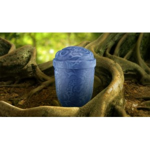 Biodegradable Cremation Ashes Funeral Urn / Casket - ANTIQUE FOSSIL BLUE