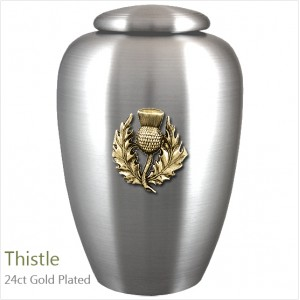 The English Pewter Cremation Ashes Urn – Scotland / Scottish Thistle – Gold Plated Adornment