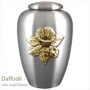 The English Pewter Cremation Ashes Urn – Daffodil Flower / Floral Beauty – Gold Plated Adornment