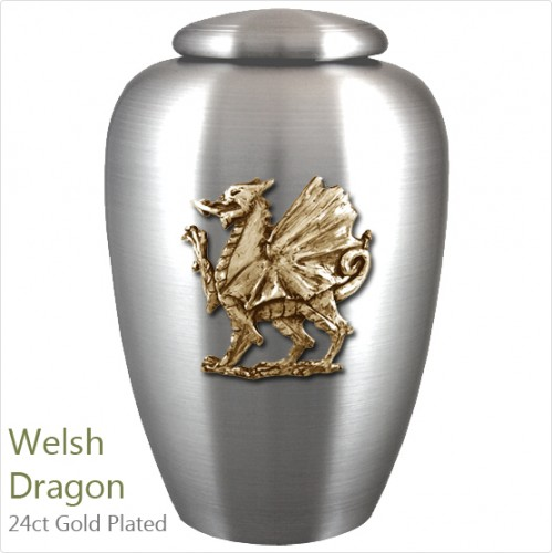 The English Pewter Cremation Ashes Urn – Legendary Welsh Dragon – Gold Plated Adornment