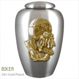 The English Pewter Cremation Ashes Urn – Biker / Motorcyclist / Rider – Gold Plated Adornment
