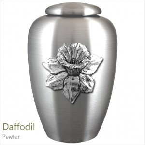The English Pewter Cremation Ashes Urn – Daffodil Flower / Floral Beauty – Solid Pewter Adornment