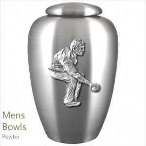 The English Pewter Cremation Ashes Urn – Men's Bowls / Male Bowler – Solid Pewter Adornment