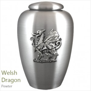 The English Pewter Cremation Ashes Urn – Legendary Welsh Dragon – Solid Pewter Adornment