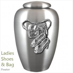 The English Pewter Cremation Ashes Urn – Ladies Shoes & Bag / Fashion – Solid Pewter Adornment