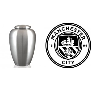 UK Football Team Cremation Ashes Urn – Engraved Logo – Manchester City – Pride in Battle