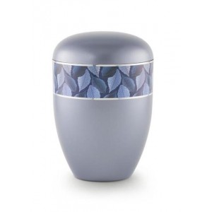 Biodegradable Urn (Leaf Border - Steel Grey)