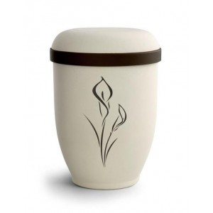 Biodegradable Urn (Natural Stone with Calla Lily Design) **BEAUTIFUL NATURAL PRODUCTS**