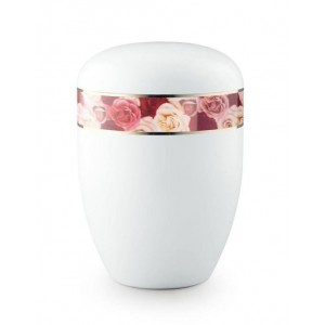 Biodegradable Urn (White with Roses Border) **Beautiful Floral Design**