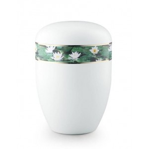 Biodegradable Urn (White with Water Lily Border)