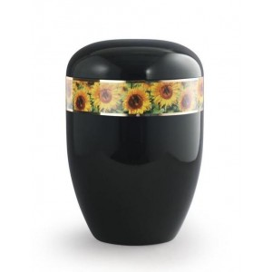 Biodegradable Urn (Black with Sunflower Border)