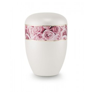 Biodegradable Urn (Pearl with Pink Rose Border)