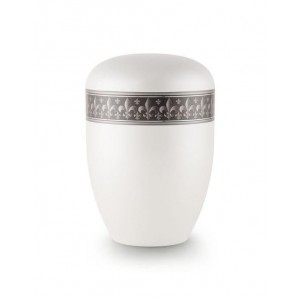 Biodegradable Urn (White with Silver Fleur de Lys Border)