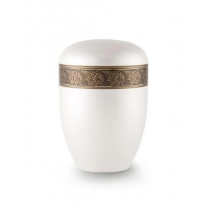 Biodegradable Urn (White with Bronze Fan Border)