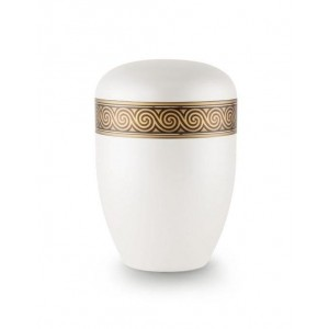 Biodegradable Urn (White with Bronze Spiral Border)