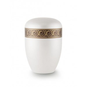 Biodegradable Urn (White with Bronze Wave Border)