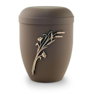 Biodegradable Urn (Brown with Gold Wheat Sheaf Motif)