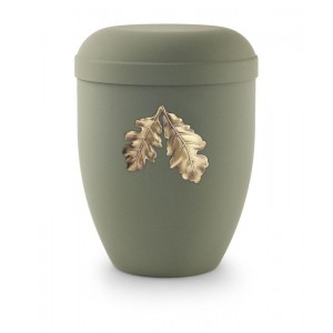 Biodegradable Urn (Olive Green with Gold Leaves Motif)