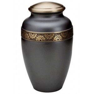 Brass Urn (Pewter with Gold Engraved Band)