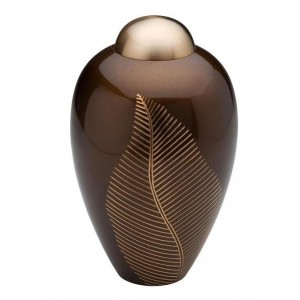 Brass Urn (Brown with Engraved Brass Leaves)