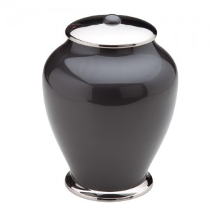Simplicity Brass Cremation Ashes Urn - Black with Silver Lid