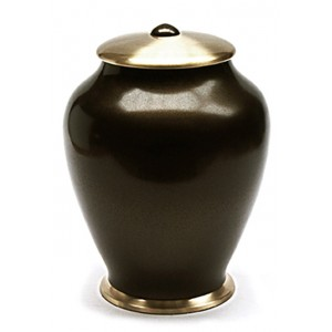 Simplicity Brass Cremation Ashes Urn - Brown with Gold Lid