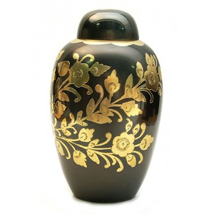 Brass Urn (Black with Gold Floral Design)