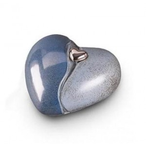 Small Ceramic Heart Urn (Blue with Silver Heart Motif)