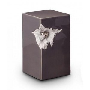 Medium Ceramic Urn (Grey with Silver Recessed Heart Motif)