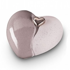 Ceramic Heart Urn (Grey with Silver Heart Motif)