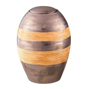Medium Ceramic Urn – Grey with Orange Textured Stripes