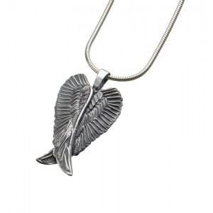 Antique Sterling Silver Angel Wings Pendant
