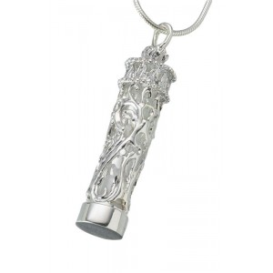Sterling Silver Chromate Cylinder Pendant with Glass Insert